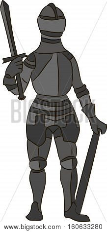 Medieval knight in iron armor. Vector image