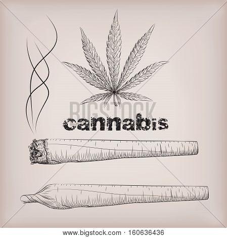Cannabis marijuana weed leaf rolled cigarette smoking narcotic drug. Vector beautiful close-up side view sign signboard inscription black outline line art design drawn illustration beige background