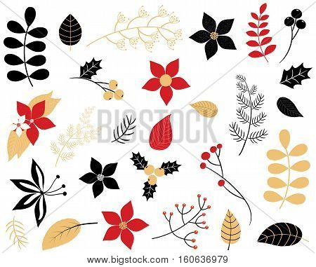 Elegant winter foliage set - leaves flowers berries and branches in red black and gold colors