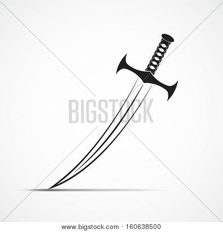 Sword in flat style. Simple black sword sign isolated. Vector illustration.