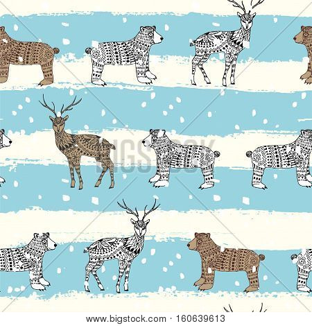 Hand drawn Christmas magic horned deer and bear for adult anti stress page with high details isolated on white blue with snow background illustration in zentangle style. Seamless pattern. Sketch.