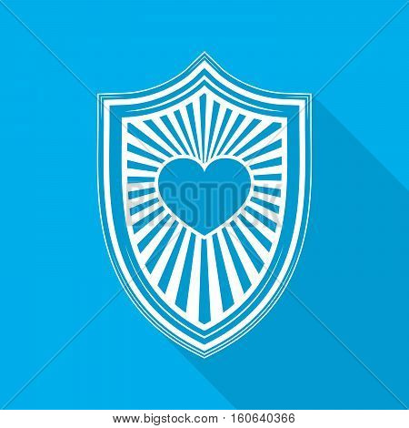 White shield with heart symbol on blue background. Shield icon in flat design with long shadow. Vector illustration.