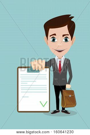 Man in a suit, businessman or manager, hold list of tasks. or questionnaire. Illustration, vector, flat