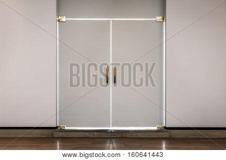 Modern Doors White Outline Bright Shining Indoors Closed Hidden Secret Sunlight