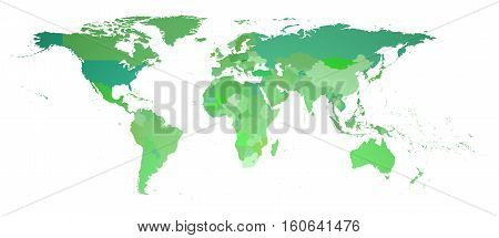 green flat world map isolated on white 3d rendering
