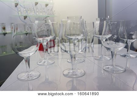 Glass wine glasses in a shopping pomschenii. Sale