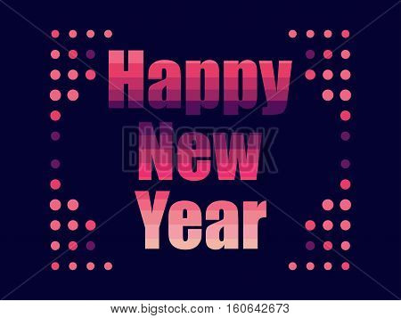 Happy New Year In 80's Retro Style. Text In The Futuristic Style, Neon. Vector Illustration.