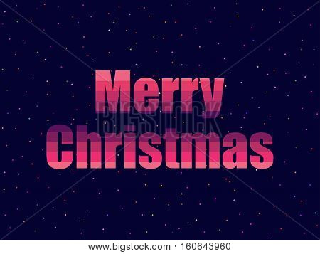 Marry Christmas In 80's Retro Style. Text In The Futuristic, Neon. Vector Illustration.