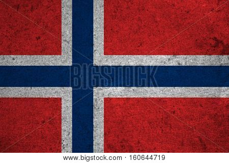 Norway Flag On An Old Grunge Background