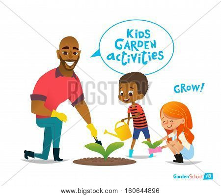 Father and kids engaged gardening in the backyard. Girl and boy planting flowers in the garden. Eco concept. Montessori education activities. Organic gardening. Vector illustration