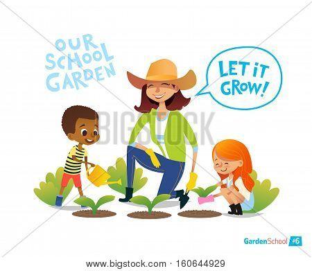 Gardening with kids. Eco concept. Engaging in Montessori education activities. Organic gardening. Vegan garden. Vector illustration