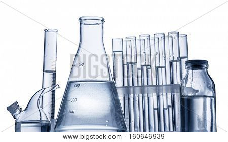 Different laboratory beakers and glassware. Clipping paths.