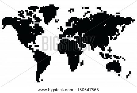 Pixel, dot world map.Original abstract vector illustration.