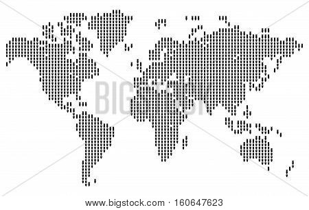 Map of the world made in the form of falling bombs. Original abstract vector illustration.