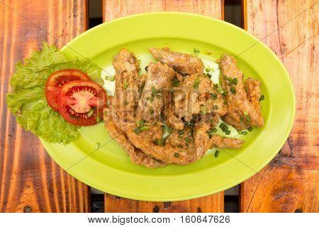 Shrimp prawn fried in salted egg flour butter