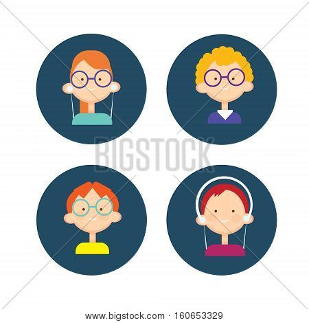 Young People Group Icon Set Teenager Children Avatar Flat Vector Illustration