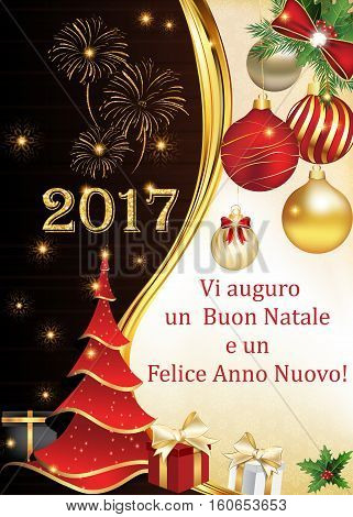 Italian New Year 2017 corporate greeting card with fireworks, Christmas tree and Christmas baubles. We wish you Merry Christmas and Happy New Year (Italian text). Print colors used. Size 5 7