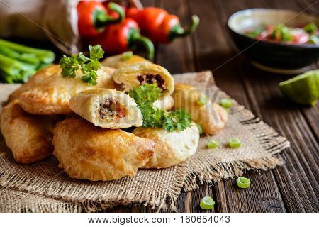 Traditional Beef Empanadas With Aji Picante Sauce