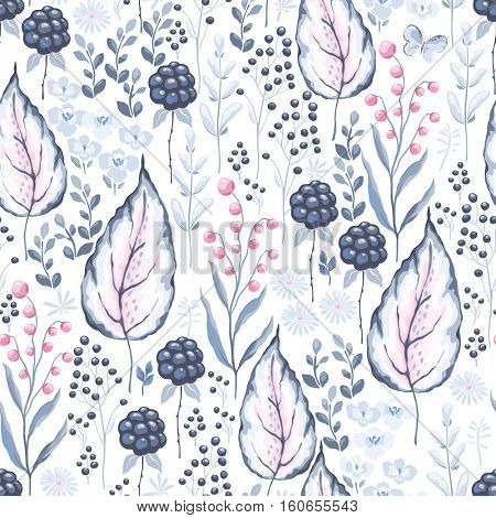 Ornate seamless pattern with Blackberry, leaves and branches. Vector illustration on white background.