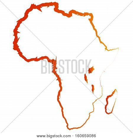 Original drawing of a map of Africa. Abstract vector silhouette of Africa.