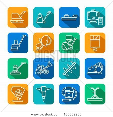Equipment for working with concrete, contour icons, colored. Vector, the linear image of construction equipment. White figures on a colored background with a shadow.