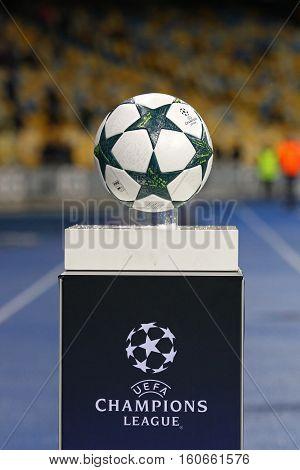 Official Uefa Champions League Matchball On Pedestal