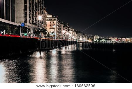 Thessaloniki Port and White Tower By Night Long Exposure Shot