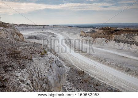 Road for trucks in chalk quarry mining