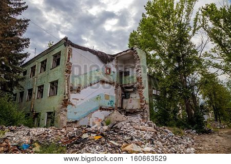 Destroyed industrial building, can be used as demolition, earthquake, bomb, terrorist attack or natural disaster concept. Series