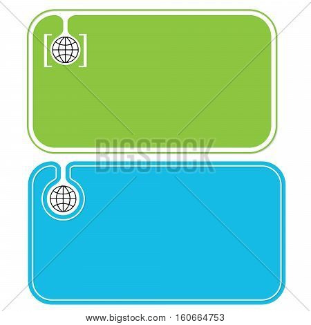 Colored business cards and black globe icon