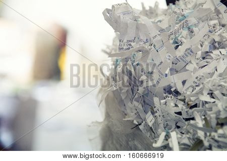 textures of shredded paper ready to be recycled