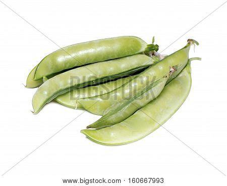 Pods of vegetable green peas on white background