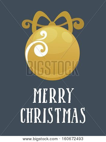 Christmas Greeting Card Template. Card with Christmas ball. Vector illustration