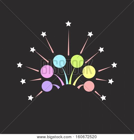 Christmas fireworks on dark background icon with burst petard, stars. Festival celebrate and party.