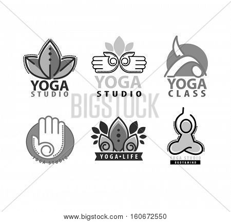 Yoga monograms and logos set. Monochrom Abstract yoga design elements and symbols, icons and badges. Vector illustration