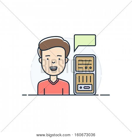Server hosting support icon. System administrator in maintenance of server racks. Vector illustration