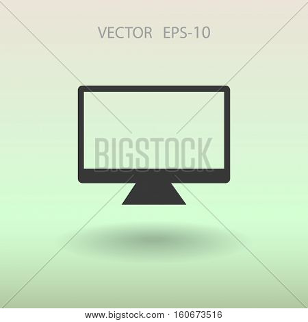 Flat icon of monitor. vector illustration