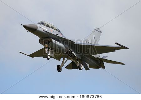 Military F-16 Fighter Jet Landing