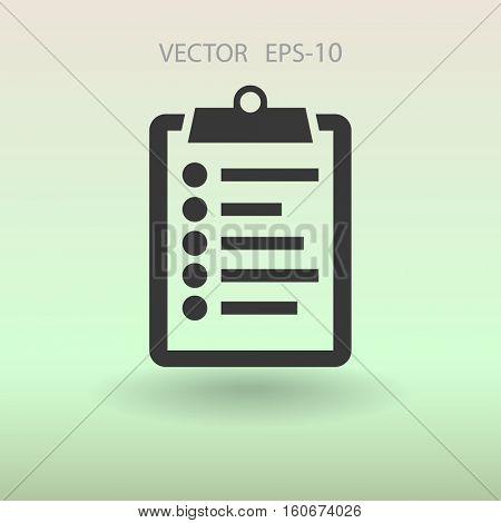 Flat icon of clipboard. vector illustration