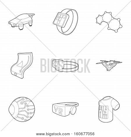 Latest electronic devices icons set. Outline illustration of 9 latest electronic devices vector icons for web
