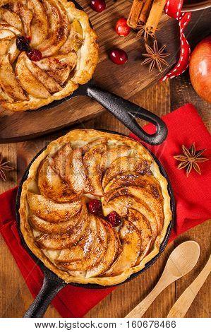 Cast Iron Skillet Apple Cake with Cinnamon. Selective focus.
