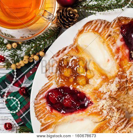 Christmas Dessert Background. Danish Pastry Rings. Selective focus.