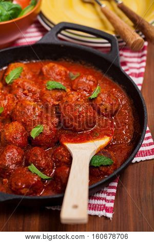 Homemade Meatballs in tomato sauce. Selective focus.