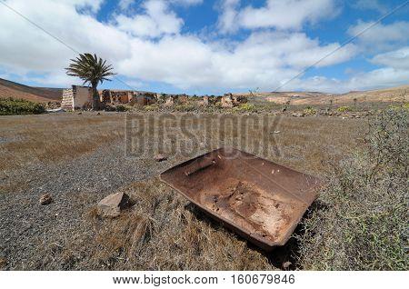 Rusty Metal Over A Desert