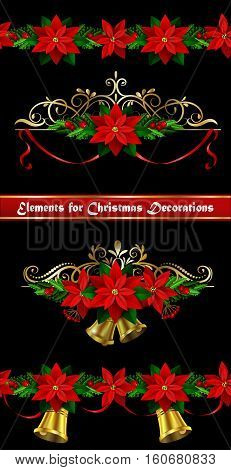 Christmas set of decorations with evergreen treess holly and pinecone and poinsettia ribbon isolated and matching seamless border