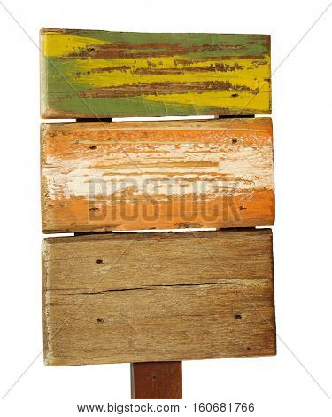 old, colored wooden plank used for advertisement isolated on white background