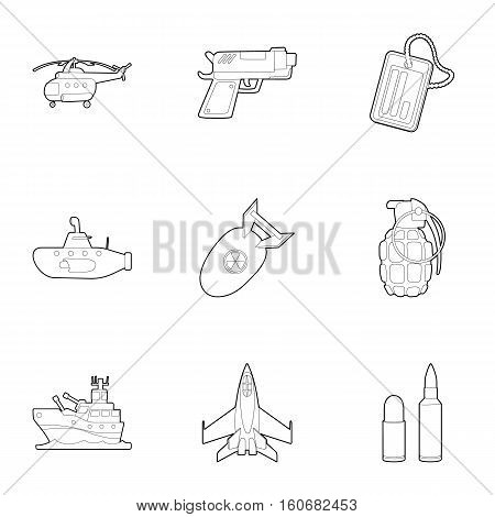 Army weapons icons set. Outline illustration of 9 army weapons vector icons for web