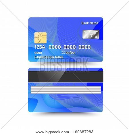 Vector illustration of credit card two sides with absrtact design on white background. Electronic card for banking operation and plastic card bank. Blue sample