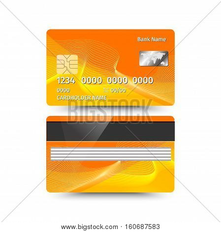 Vector illustration of credit card two sides with absrtact design on white background. Electronic card for banking operation and plastic card bank. Yellow sample