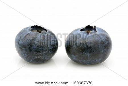 Close-up of fresh blueberry on a white background